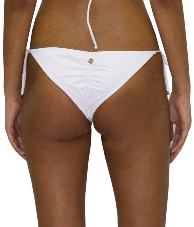 Scrunch white Brazilian bikini bottom with lace - BOTTOM RUFFLE JUNGLA NATURAL