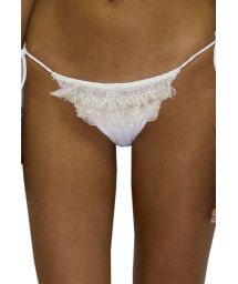 Scrunch white Brazilian bikini bottom with lace - BOTTOM RUFFLE JUNGLA NATURAL