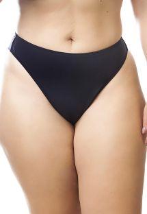 Plus size black string fixed bikini bottom - CALCINHA FIO DENTAL PRETO
