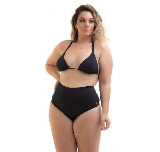Plus size black high waist string bikini bottoms - CALCINHA FIO HOT PANTS PRETO