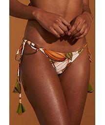 Brazilian side-tie bikini bottom with cocoa bean print and pompoms - BOTTOM BABADINHO CACAU