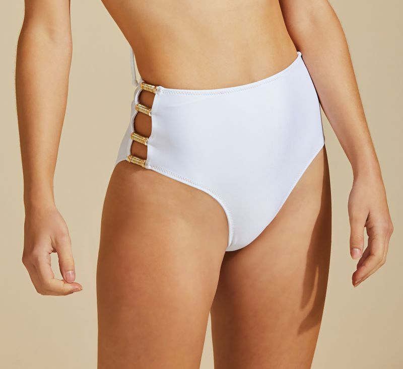 Accessorized white high-waisted bikini bottom - BOTTOM BOJO TUBO DE LINHA