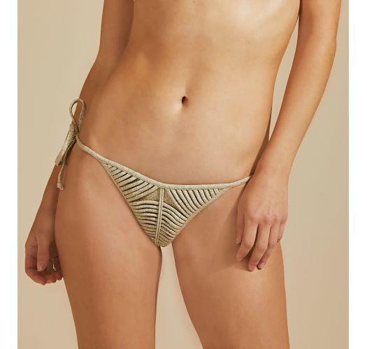 Goldene Luxus-Lurex-Bikinihose, Rippenoptik - BOTTOM TIRAS LUZ-MESCLA CLARO