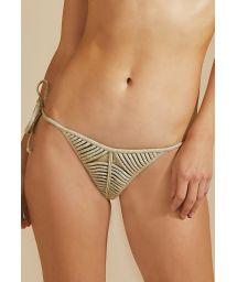 Lyxig brasiliansk bikininederdel i lurex, sidoknytning - BOTTOM TIRAS LUZ-MESCLA CLARO