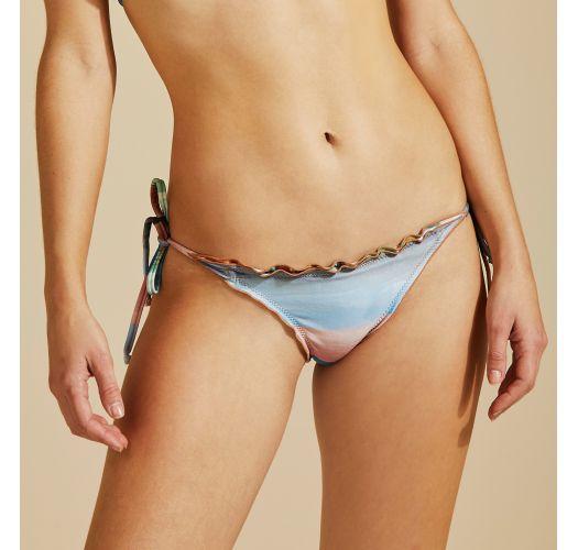Colorful side-tie bikini bottom wavy edges - BOTTOM ZIG ZAG IMPRESSIONISMO