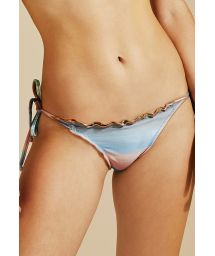 Colorful side-tie bikini bottom wavy edges - BOTTOM ZIG ZAG IMPRESSIONISMO