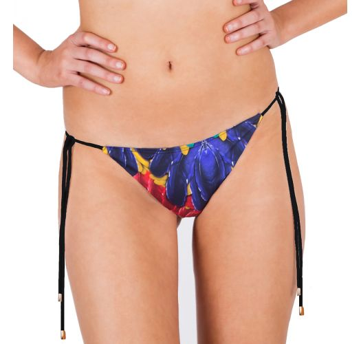 Bikinihose mit Seitenschnüren, Tropenprint - CALCINHA PLUMA REAL