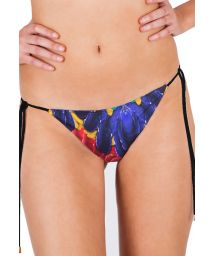 Tropical printed bikini bottom with ties - CALCINHA PLUMA REAL