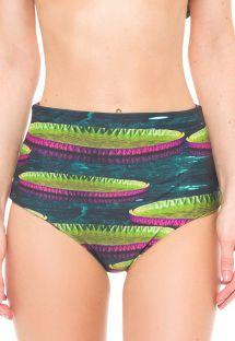 Luxury reversible high-waist swimsuit bottom - CALCINHA FLORESTA AMAZONAS