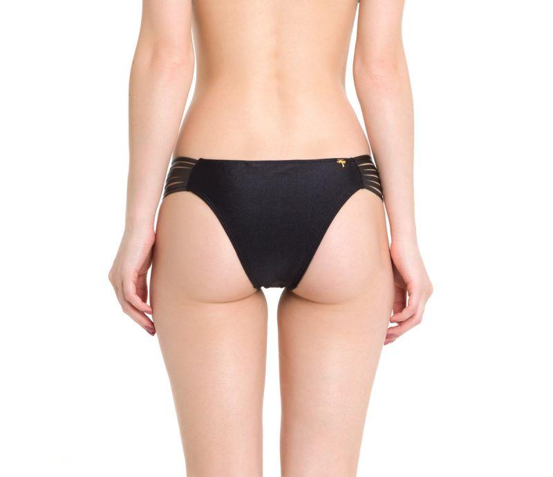 Black swimsuit bottom with leather straps - CALCINHA JERICOACOARA