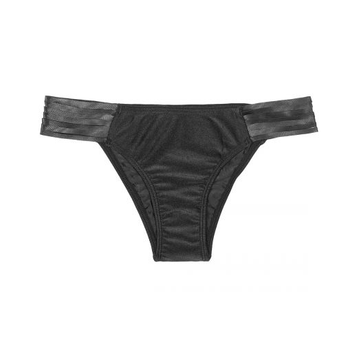 Black swimsuit bottom with leather straps - CALCINHA JERICOACOARA