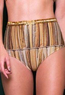 Luxurious gold high waist bikini bottom - CALCINHA PALHAS DOURADO