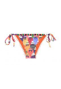 Bas de bikini multicolore avec mini pompons - CALCINHA PERUANAS