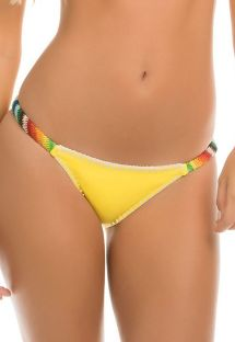 Braguita de bikini amarillo con los lados de ganchillo de colores - CALCINHA BONFIRE YELLOW