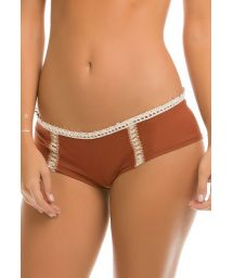 Embroidered Suedette Shorty Swimsuit Bottom - CALCINHA EVER SUEDE