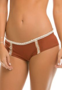 Shorty med brodert semsket stoff - CALCINHA EVER SUEDE
