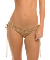 Handmade beige crochet bikini bottoms - CALCINHA FESTIVAL CROCHET