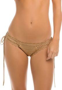 Beige handgefertigte Häkel-Bikinihose - CALCINHA FESTIVAL CROCHET