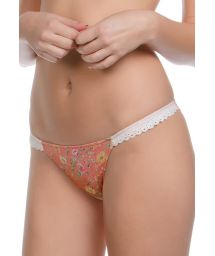 Floral tanga swimsuit bottom with crochet sides - CALCINHA LACE PARADISE