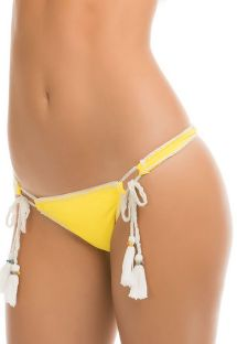Yellow Brazilian bikini bottoms with tassels - CALCINHA RAINBOW CROCHET