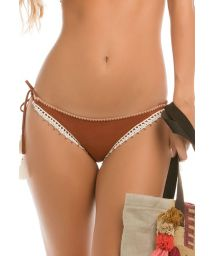 Suede effect swimsuit bottom with crochet detailing - CALCINHA SUEDE CROCHET
