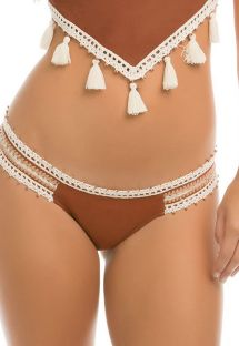 Suede effect swimsuit tanga with embroidered sides - CALCINHA SUEDE POMPOM