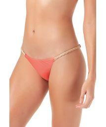 Fixed coral bikini bottom with braided sides - BOTTOM TRANCINHAS