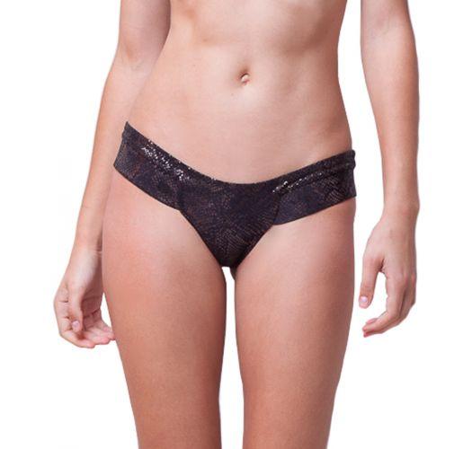 Luxurious black low-rise bikini bottom - snake skin - BOTTOM TEXTURED SNAKE BLACK