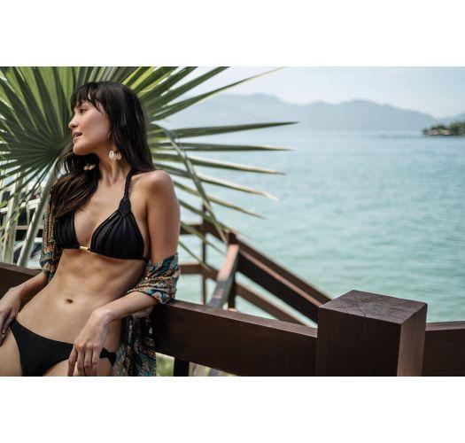 Schwarze Bikinihose mit geflochtenen Seiten - BOTTOM BIKINI BERLIM PRETO