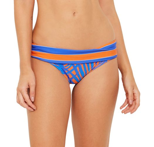 Reversible blue and orange bikini bottom (leaves / stripes) - BOTTOM ACQUA CAYENA