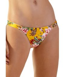Yellow floral double side straps bikini bottom - BOTTOM BELA XANGAI