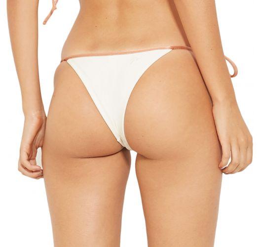 Bikinihose in Ecru mit nudefarbenen Schnüren - BOTTOM BICOLOR BRANCO PEROLA