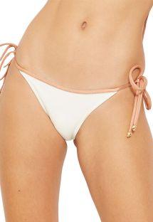 Ecru bikini briefs with nude ties - BOTTOM BICOLOR BRANCO PEROLA