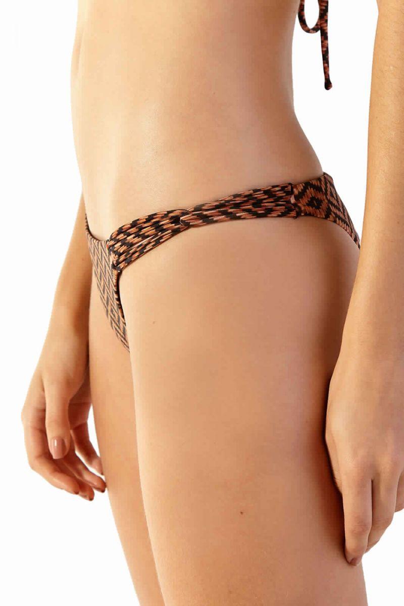 Brown ethnic bikini bottom with multi-straps sides - BOTTOM CAIRO MALDIVAS GUINE