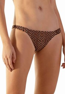 Brown ethnic bikini bottom with multi-straps sides - BOTTOM CAIRO MALDIVAS GUINE