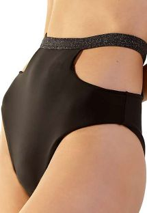 Black lurex high waist bikini bottom with cutouts - BOTTOM CURVES PRETO LUREX