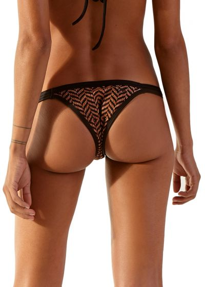 Brown ethnic bikini bottom with black edges - BOTTOM DANCE GUINE