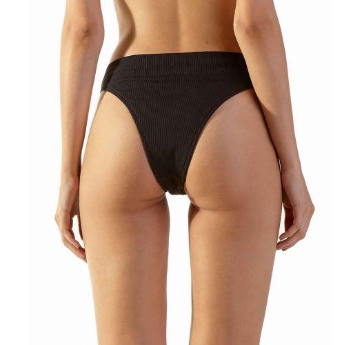 Black ribbed Brazilian high-leg bikini bottom - BOTTOM DELTA PRETO