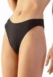 Black ribbed Brazilian high-leg bikini bottom - BOTTOM DELTA PRETO