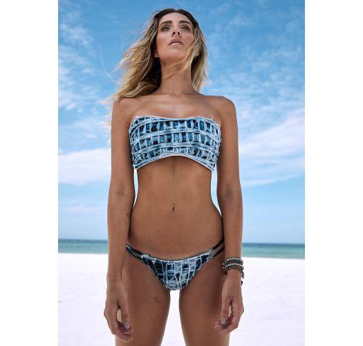 Bikinihose aus ausgefransten Tie-Dye-Jeans - BOTTOM FAIXA JEANS COLLAGE