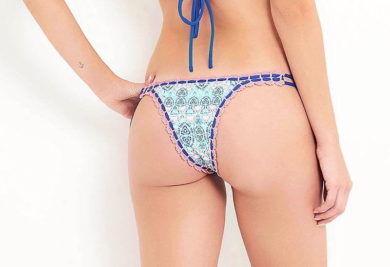Side-tie bikini bottom with crochet edges - BOTTOM FAUNA MARINHA
