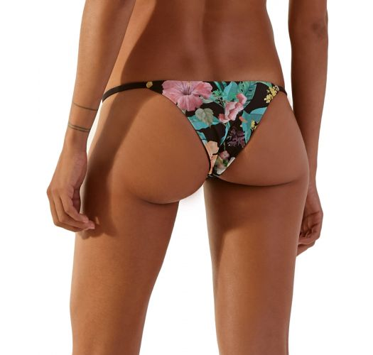 Black slim sides bikini bottom in tropical flowers - BOTTOM FOX HAWAI