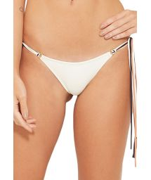 White bikini bottoms with colorful ties - BOTTOM HAWAI BRANCO PEROLA