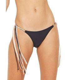 Black bikini bottoms with colorful ties - BOTTOM HAWAI PRETO