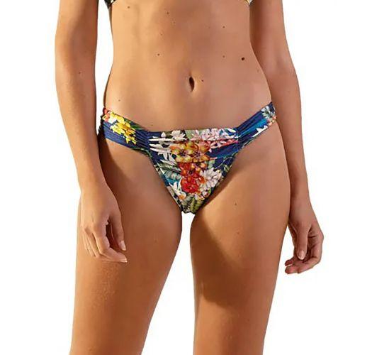Floral blue fixed bikini bottom with pleated sides - BOTTOM IBIZA ARTA