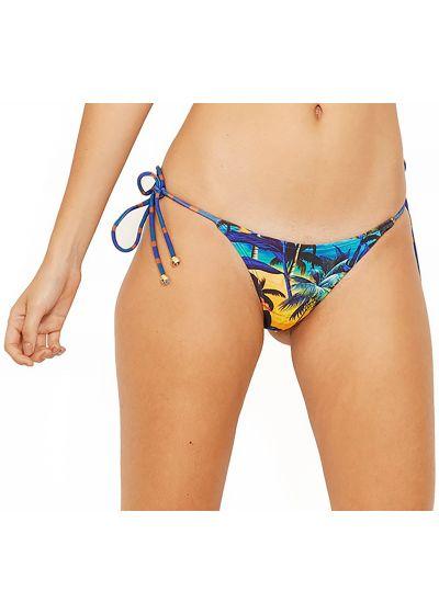 Brazilian bikini bottom in tropical print and stripes - BOTTOM ICEBERG ENTARDECER