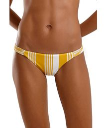 Yellow & white strappy scrunch Brazilian bikini bottom - BOTTOM JOY NASCA