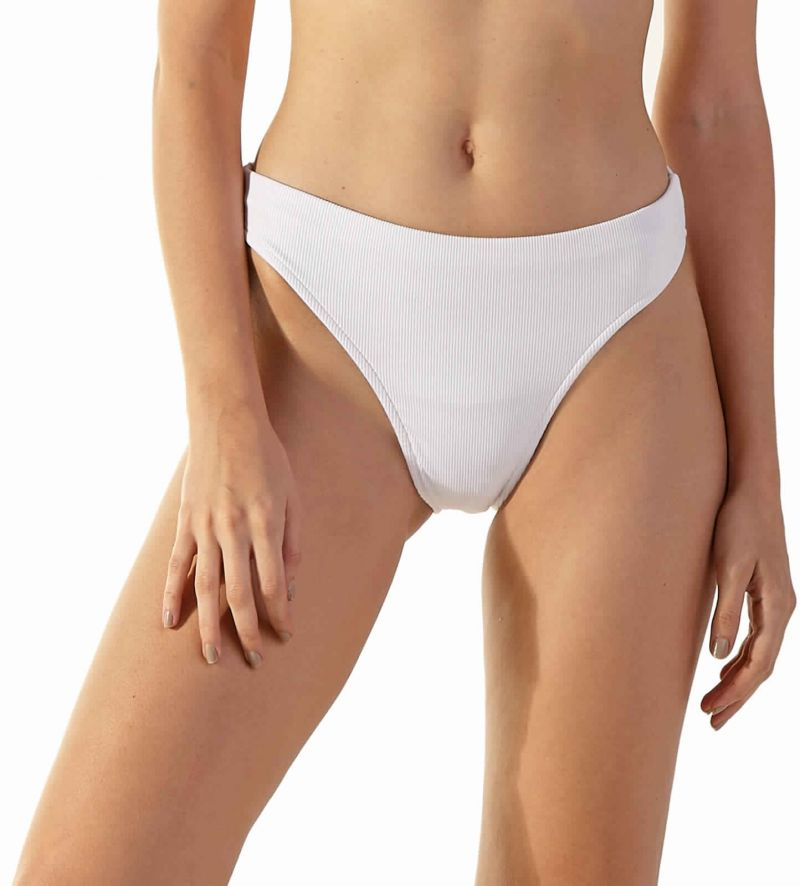 White ribbed high-leg bikini bottom - BOTTOM LIGHT BRANCO