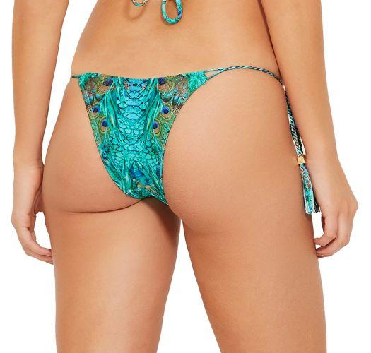 Side-tie bikini bottom with pompoms - blue peacock - BOTTOM LILLIPOP FANTASTIC