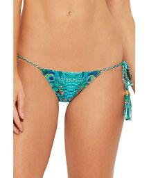Side-tie bikini bottom with pompoms - blue peacock - BOTTOM LILLIPOP FANTASTIC